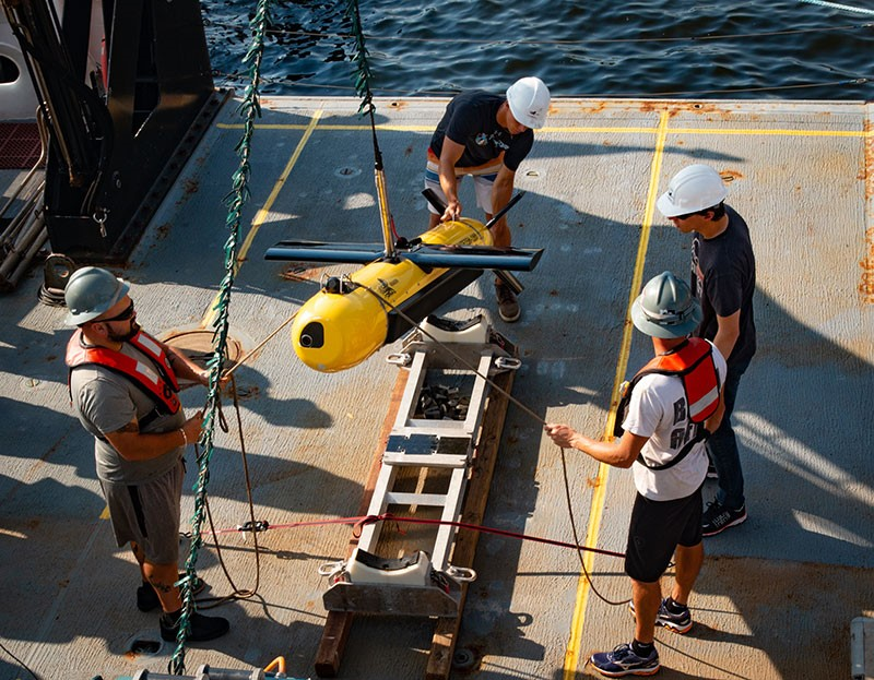 Kraken's KATFISH™ high speed Synthetic Aperture Sonar towfish will be used to acquire ultra-high definition seabed images and bathymetry during the OceanVision™ project. (Credit: Kraken Robotics Inc.)
