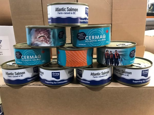 Cermaq Canada and Grieg Seafood are donating 86,000 cans of Atlantic salmon to food banks across BC, processed through St. Jean's Cannery & Smokehouse in Nanaimo. (Credit: B.C. Salmon Farmers Association)