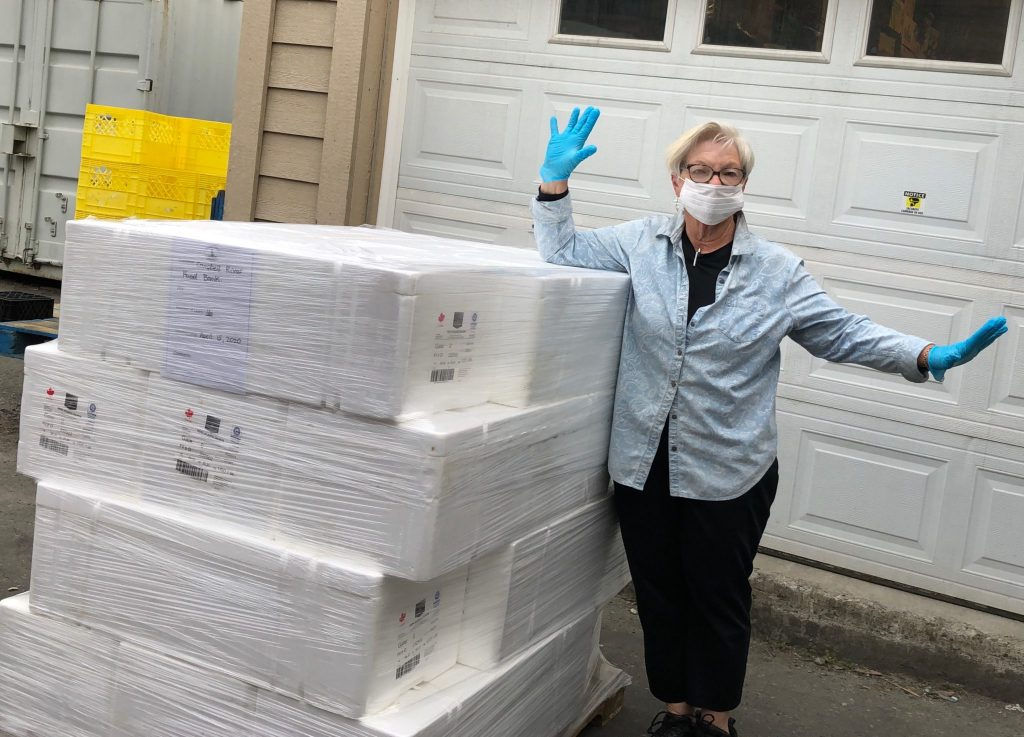 Debbie Miller, Manager of the Campbell River Foodbank, safely receives a pallet of salmon fillets donated by Mowi Canada West. (Credit: B.C. Salmon Farmers Association)